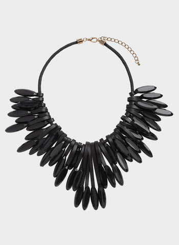 Vegan Leather Opaque Crystal Statement Necklace, Black, hi-res