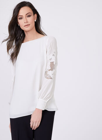 Floral Appliqué Blouse , Off White, hi-res