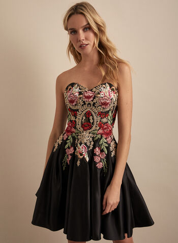 Blondie Nites - Embroidered Bustier Cocktail Dress, Black,  dress, cocktail, bustier, satin, embroidery, floral, sleeveless, strapless, lace-up, crinoline, spring summer 2020