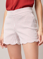 Stripe Print Scalloped Hem Shorts, White