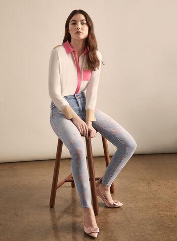 Floral Print Slim Leg Jeans, Blue,  jeans, floral print, printed jeans, slim leg jeans, mid rise jeans, comfortable, cotton pants, spring 2020, summer 2020