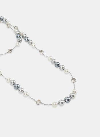Collier à double rang de perles et billes, Gris, hi-res