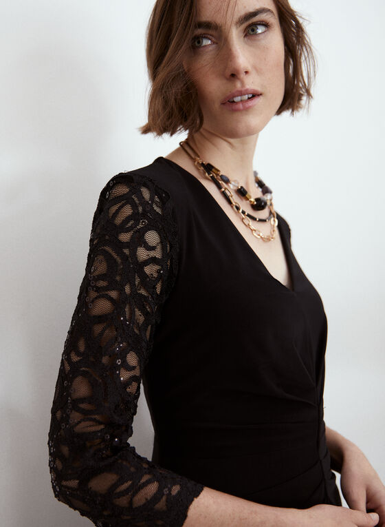 Joseph Ribkoff - Lace Sleeve Dress, Black