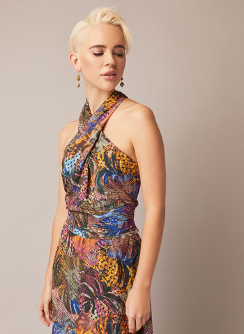 Tropical Print Cross Neck Dress, Multi,  fall winter 2020, dress, cocktail, sleeveless, off the shoulders, crossover, asymmetrical, chiffon, pattern, tropical, leaves, midi