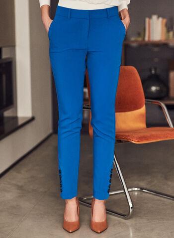Pantalon coupe Giselle à jambe étroite, Bleu,  pantalon, giselle, jambe étroite, poches, printemps été 2021