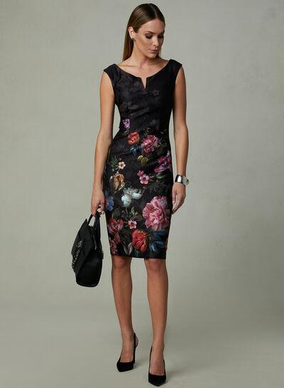 Ignite Evenings – Floral Print Split Neck Dress