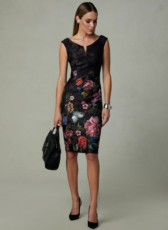 Ignite Evenings – Floral Print Split Neck Dress, Black, hi-res