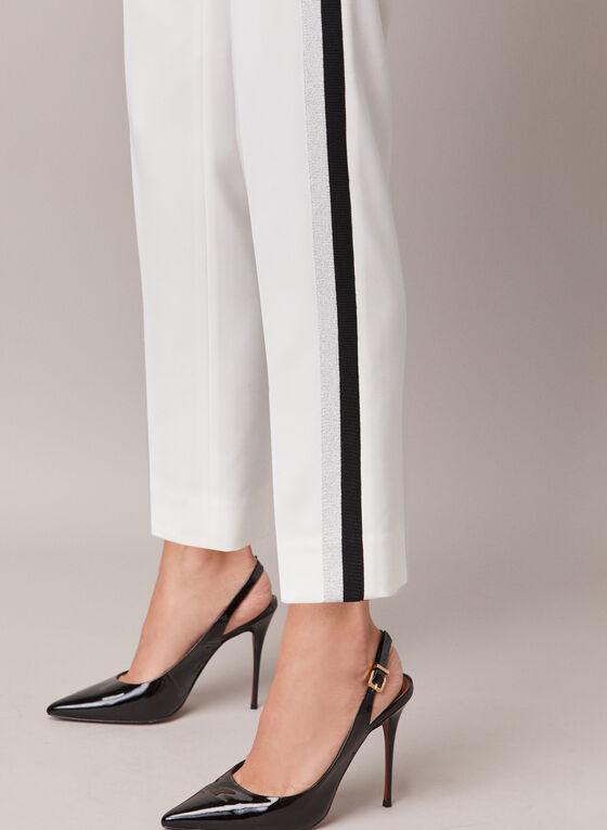 Contrast Stripe Slim Leg Pants, Off White