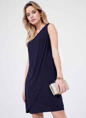 Kensie – Metal Detail Day Dress, Blue, hi-res
