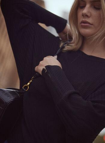 Tunique en tricot à manches chauve-souris, Noir,  automne hiver 2021, haut, tricot, tunique, pull, manches longues, manches chauve-souris, encolure bateau, col bateau, poignets zippés, fermeture éclair aux poignets