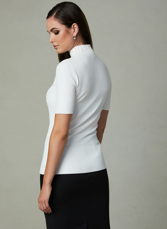 Pearl Detail Short Sleeve Sweater, Off White, hi-res