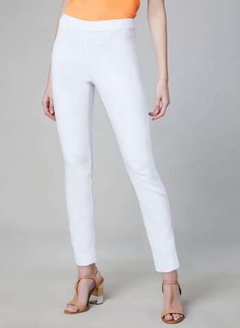 Pull-On Slim Leg Pants, White, hi-res