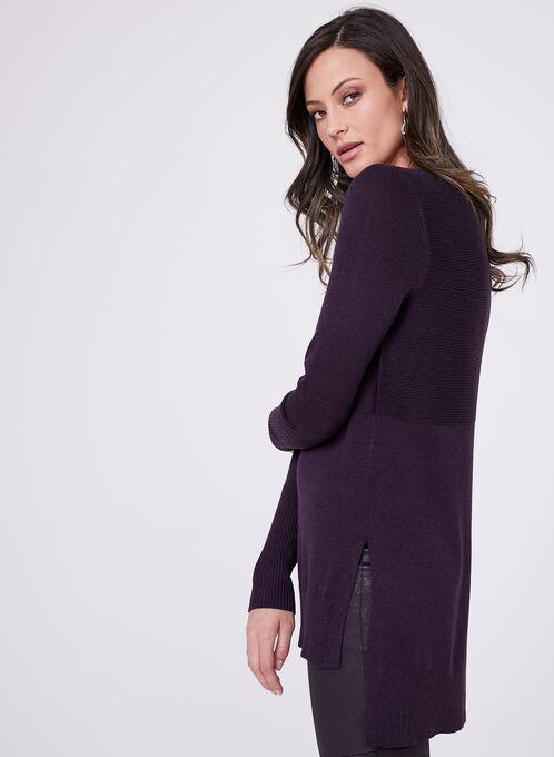 Pull manches longues en tricot, Pourpre, hi-res