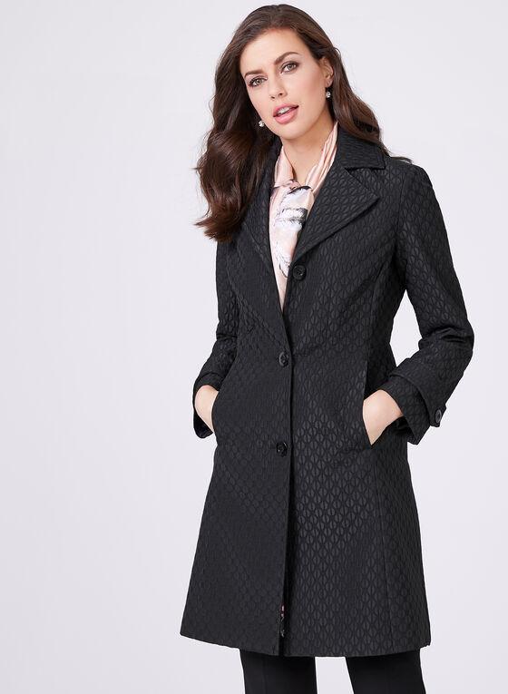 Novelti – Graphic Print Trench Coat, Black, hi-res