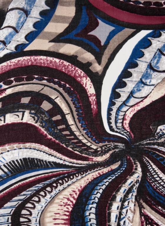 Foulard oblong motif psychédélique, Noir, hi-res