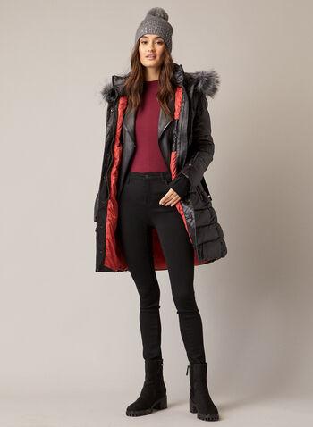 Sicily - Manteau matelassé à fausse fourrure, Noir,  automne hiver 2020, manteau, manteau d'hiver, Sicily, fausse fourrure, matelassé, duvet, ceinture, fait au Canada, zip, glissière, poches