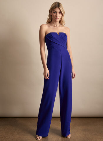 Aidan Mattox - Wide Leg Jumpsuit, Blue,  Spring summer 2020, wide leg, Stretchy crepe fabric, surplice neckline, jumpsuit