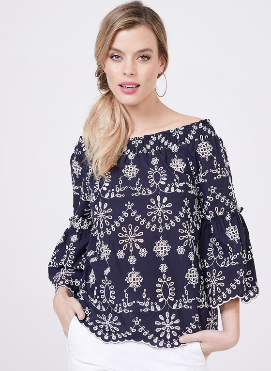 Embroidered Cotton Top, Blue, hi-res