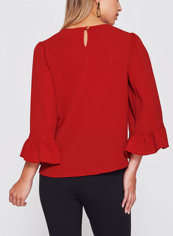 Bubble Crepe Bell Sleeve Top , Red, hi-res