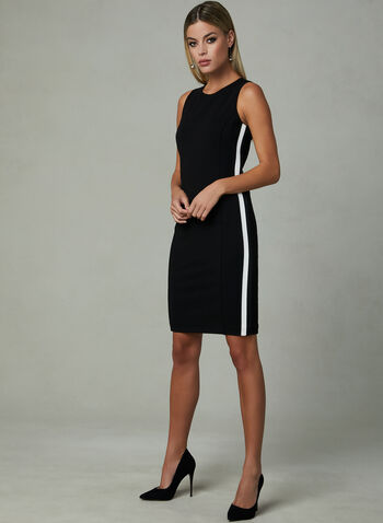 Contrasting Trim Sleeveless Sheath Dress, Black, hi-res