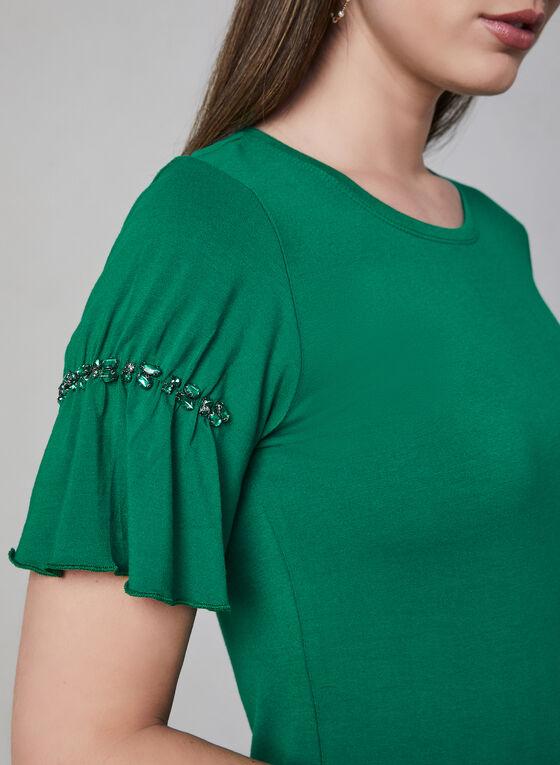Haut à manches courtes et cristaux, Vert, hi-res