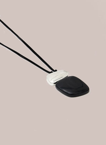 Collier en corde à pendentif étagé, Noir,  automne hiver 2020, collier, pendentif, bijou, accessoire