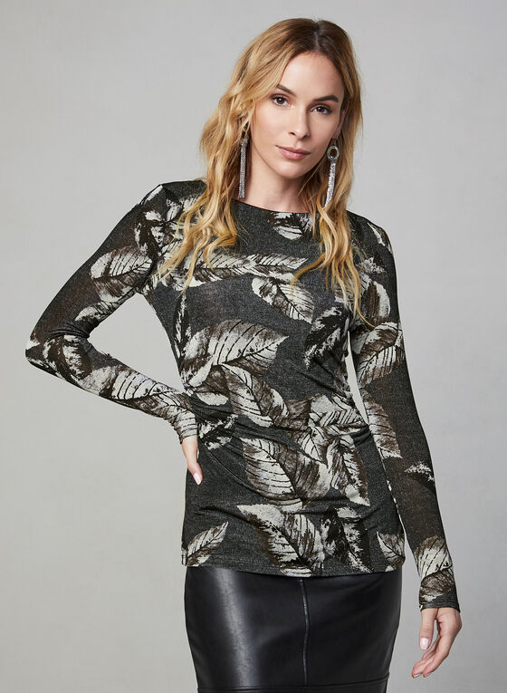 Leaf Print Top, Black