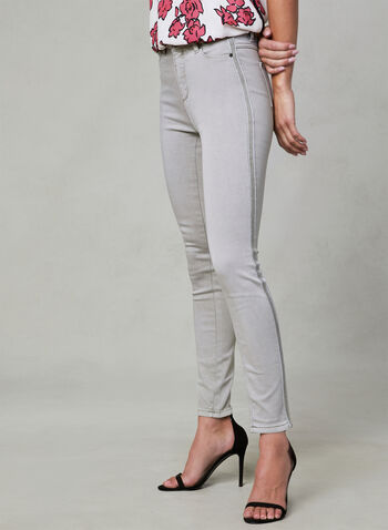 Super Soft Slim Leg Jeans, Grey, hi-res,  Trim, beads, spring 2019, denim