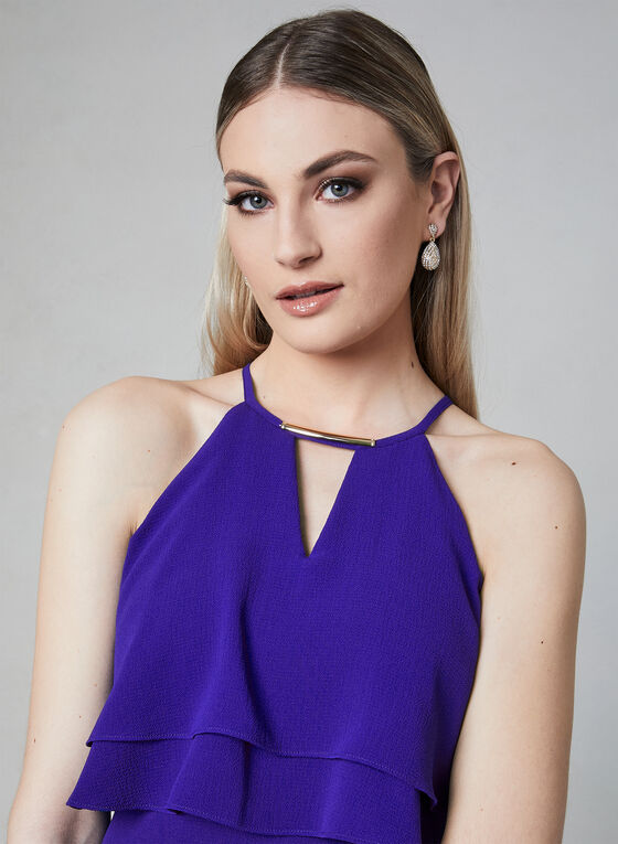 Kensie - Halter Neck Asymmetric Dress, Blue