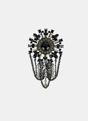 Crystal Embellished Brooch, Black, hi-res