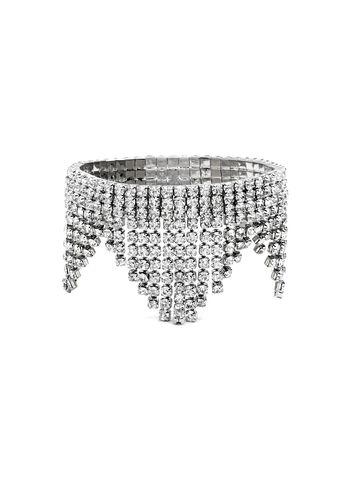 Bracelet extensible asymétrique en strass, Argent, hi-res