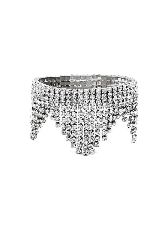 Crystal Fringe Stretch Bracelet, Silver, hi-res