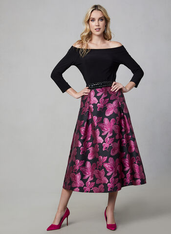 Floral Print Flare Skirt, Black,  fall winter 2019, long, flare, floral print