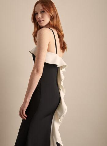 Marina - Contrast Flounce Detail Dress, Black,  dress, evening, flounce, contrast, ruffle, stretchy, scuba, sleeveless, spaghetti straps, foldover, spring summer 2020