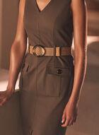 Joseph Ribkoff - Belted V-Neck Dress, Green