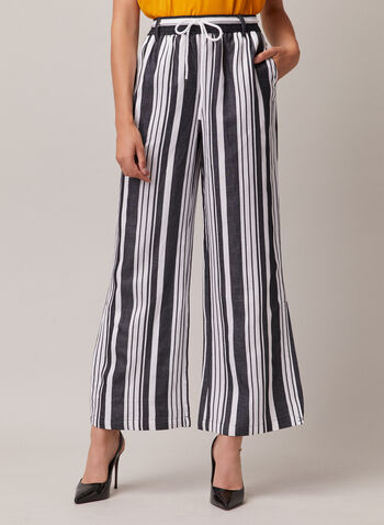 Striped Linen Wide Leg Pants, Blue,  pants, pull-on, wide leg, stripe print, linen, spring summer 2020