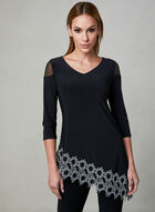 Joseph Ribkoff - Floral Lace Appliqué Top, Black, hi-res