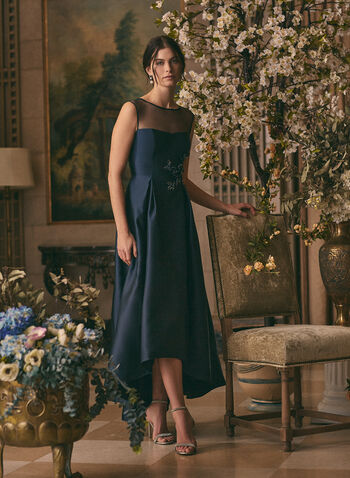 Adrianna Papell - High-Low Satin Dress, Blue,  spring summer 2021, satin fabric, fit & flare silhouette, illusion yoke, sweetheart neckline, back zipper