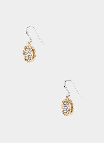 Round Crystal Pavé Earrings, Yellow, hi-res,  earrings, dangle, crystal pavé, braided border, fall 2019