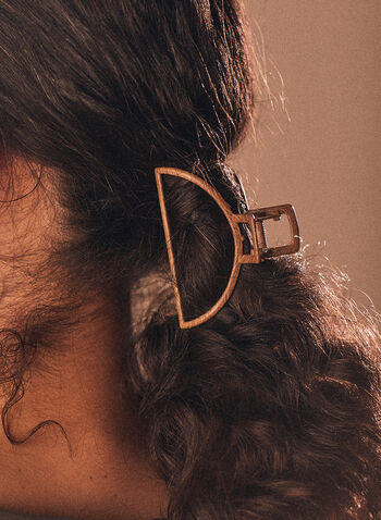 Pince à cheveux ouverte en demi-cercle, Brun,  pince à cheveux, accessoires, printemps été 2021, métal, demi-cercle