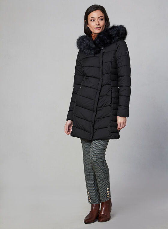 Bernardo - Quilted Faux Fur Coat, Black