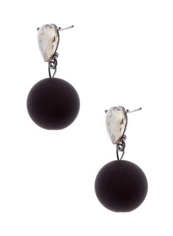 Teardrop Crystal & Ball Dangle Earrings, Black, hi-res