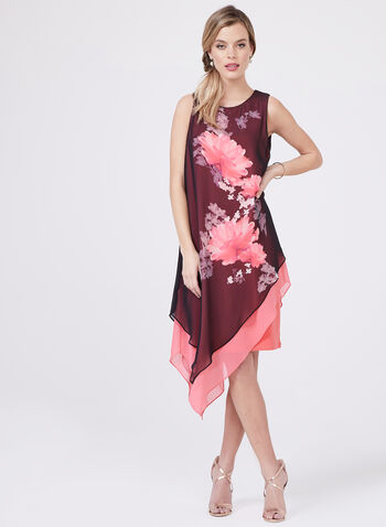 Frank Lyman – Asymmetric Floral Print Dress, Multi, hi-res