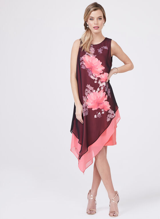 Frank Lyman – Asymmetric Floral Print Dress, Multi, hi-res