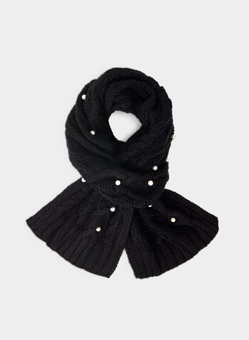 Karl Lagerfeld Paris - Cable Knit Scarf, Black,  scarf, cable knit, pearls, fall 2019, winter 2019