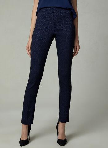 Pantalon pull-on à jambe étroite et motif jacquard, Noir, hi-res