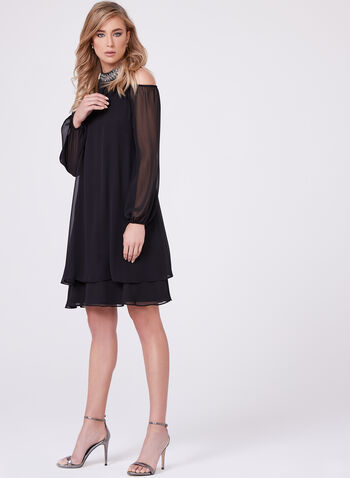 BA Nites - Beaded Cleo Neck Cold Shoulder Dress, Black, hi-res