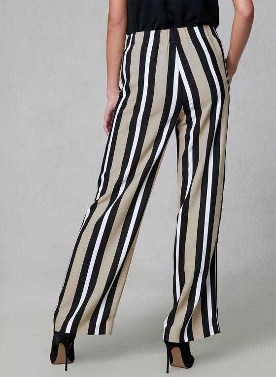 Pantalon palazzo à rayures contrastantes, Noir