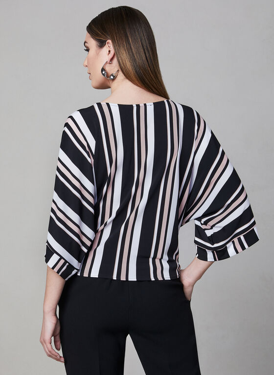 Frank Lyman - Stripe Print Top, Black, hi-res