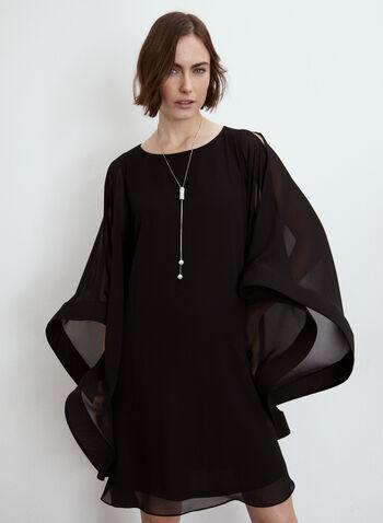 Joseph Ribkoff - Chiffon Dress, Black,  made in Canada, dress, cocktail dress, boat neck, long sleeves, chiffon, fall winter 2021